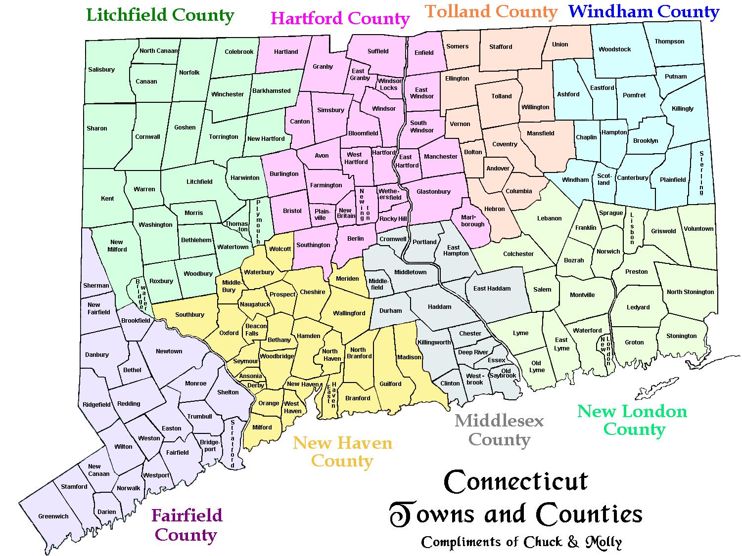 Map of CT Towns and Counties MAP OF CONNECTICUT